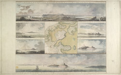 Views of the Capital of New England and Castle of William and Mary in the Harbour of Boston